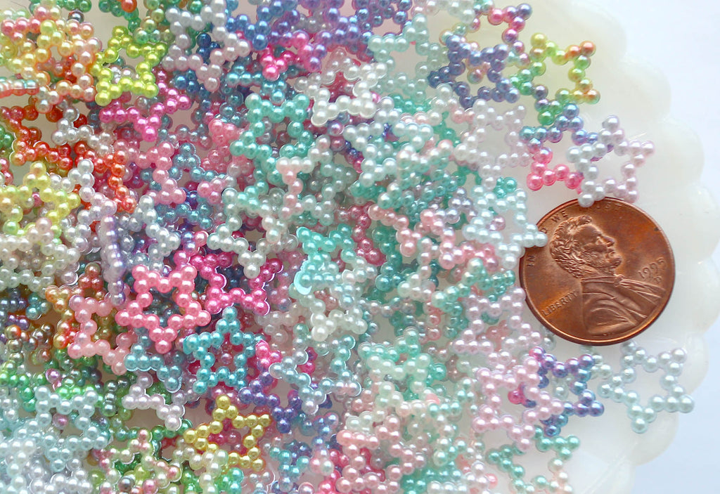 Pastel Star Cabochons - 12mm Small Pearly Pastel Star Flatbacks ABS Plastic Resin or Acrylic Cabochons - 18g (Approx 200 pcs)