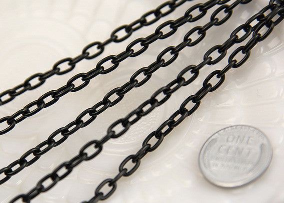 7mm Strong Black Chain - 8 feet / 2.5 meters