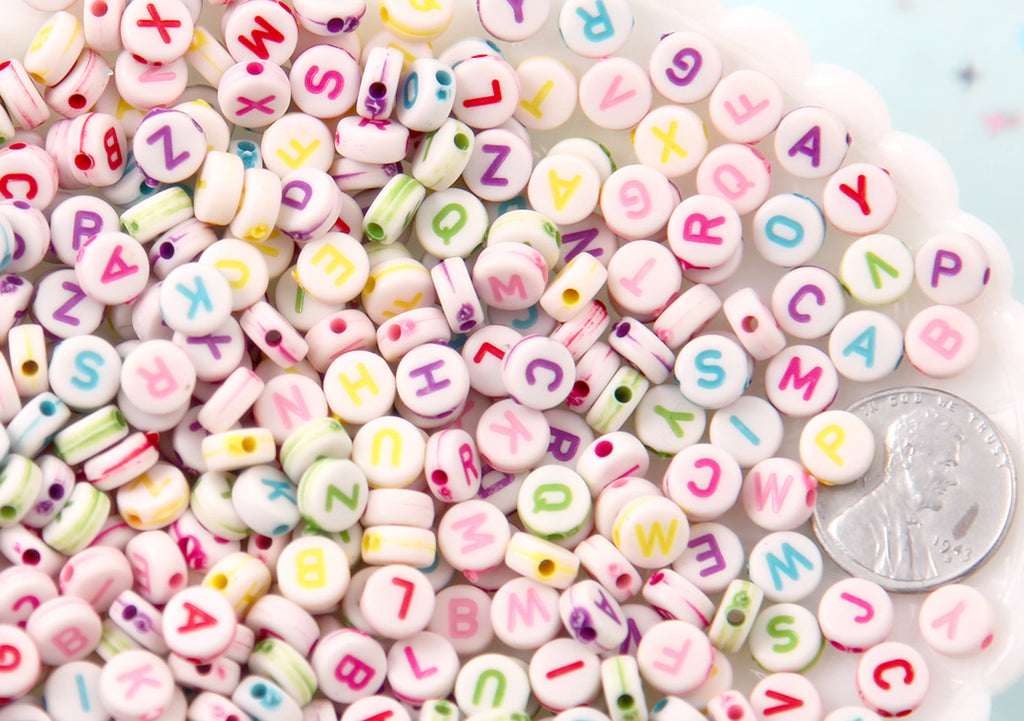 Letter Beads - 7mm Little Round Colorful White Alphabet Acrylic or Resin Beads - 400 pc set