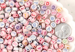 7mm Candy Color Pastel Round Alphabet Acrylic or Resin Beads - 400 pc set