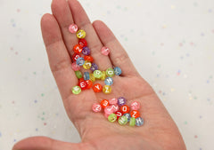 7mm Little Colorful Transparent Round Alphabet Acrylic or Resin Beads - 300 pc set