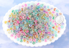 Glitter Letter Beads - 7mm Little Transparent Glitter Colorful Round Alphabet Acrylic or Resin Beads - 400 pc set