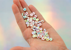 7mm Little White Number Beads - Colorful Acrylic or Resin Beads - 200 pc set
