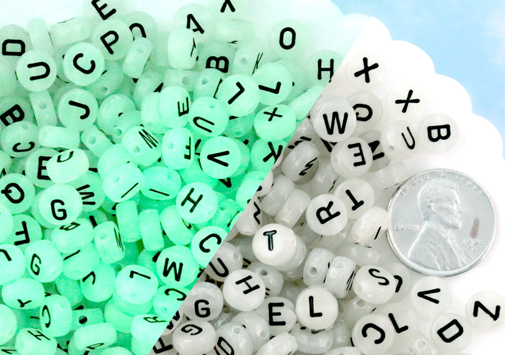 Glow Letter Beads - 7mm Glow in the Dark Alphabet Acrylic or Resin Beads - 300 pc set