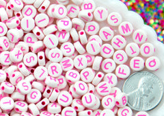Letter Beads - 7mm White Bead with Pink Text Round Alphabet Acrylic or Resin Beads - 400 pc set
