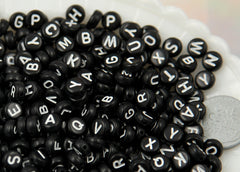 7mm Little Round Black Alphabet Acrylic or Resin Beads - 400 pc set