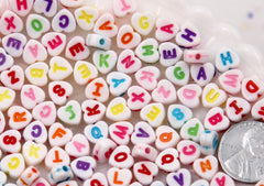7mm Little Colorful Heart Shaped Alphabet Acrylic or Resin Beads - 300 pc set