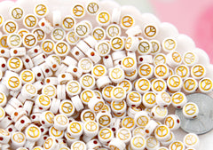 Gold Peace Symbol Beads - 7mm Tiny Gold Peace Sign Shape Acrylic or Resin Beads - 300 pc set