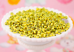 Happy Face Beads - 7mm Tiny Smile Shape Acrylic or Resin Beads - 300 pc set