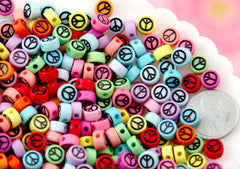 Peace Symbol Beads - 7mm Tiny Peace Sign Shape Acrylic or Resin Beads - 300 pc set