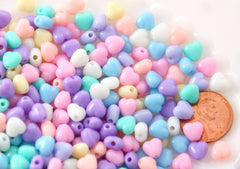 Pastel Heart Beads - 7mm Super Tiny Plastic Pastel Heart Resin or Acrylic Beads - 200 pc set