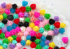 Mini Flowers - 7mm Super Tiny Mini Roses Flatback Resin Cabochons - 60 pc set