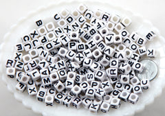 7mm Little Cube Shaped White & Black Block Alphabet Square Acrylic or Resin Beads - 200 pc set