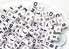 8mm Little Cube Shaped White & Black Block Alphabet Square Acrylic or Resin Beads - 110 pc set
