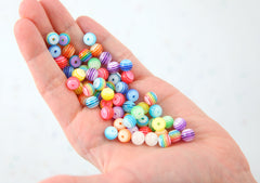 Striped Resin Beads - 8mm Small Translucent Striped Resin or Acrylic Beads, mixed color, small size beads - 100 pc set