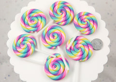 80mm Huge Pastel Rainbow Swirl Lollipop Flatback Clay or Resin Cabochons - 2 pc set