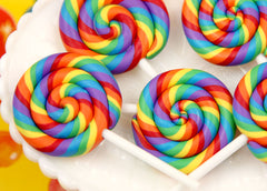 80mm Huge Colorful Rainbow Swirl Lollipop Flatback Clay or Resin Cabochons - 2 pc set
