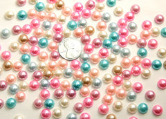 8mm Pearl Mixed Flatback Cabochons - 100 pc set