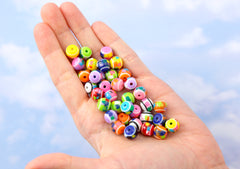 10mm Confetti Colorful Candy Stripe Acrylic or Resin Beads - mixed color, small size beads - 80 pcs set
