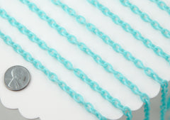 Plastic Chain - 8mm Perfect Acrylic or Plastic Chain, Light Blue - 15 inch length / 39 cm length - For Neclaces and Jewelry - 3 pcs set