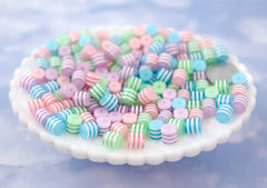 Pastel Beads - 8mm Small Cylinder Shaped Striped Pastel Resin Beads, mixed color, small size beads - 75 pc set