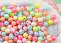 8mm Ice Cream Pastel Colors Shiny AB Iridescent Small Round Shape Plastic or Acrylic Beads - 150 pcs set