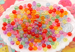 8mm Sparkle Transparent with Glitter Colorful Chunky Gumball Bubblegum Plastic Resin or Acrylic Beads - 200 pcs set