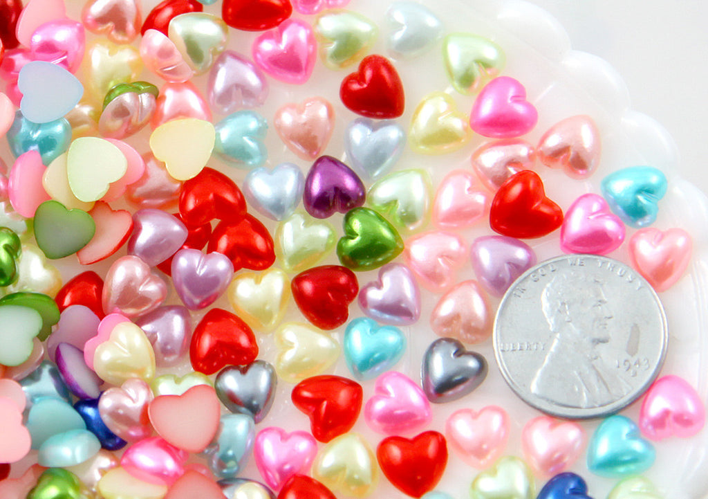 8mm Little Pastel Pearl Heart Plastic Flatback Resin Cabochons - 300 pc set