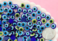 Eye Cabochons - 8mm Tiny Creepy Eyes Flat back Acrylic or Resin Cabochons - 100 pc set