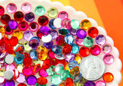 Acrylic Rhinestones - 8mm Super Sparkly Acrylic Flatback Rhinestones , Mixed Colors - 200 pc set