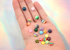 8mm Tiny Round Striped Mixed Flatback Acrylic or Resin Cabochons - 50 pc set