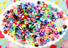 Tiny Resin Cabochons - 8mm Tiny Designs and Patterns Mixed Flatback Acrylic or Resin Cabochons - 50 pc set