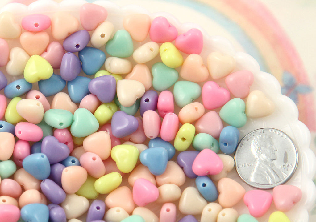 8mm Tiny Candy Heart Beautiful Bright Pastel Puffy Hearts Acrylic or Resin Beads - 200 pcs set
