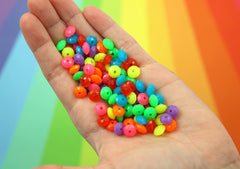 8mm Tiny Super Bright Rondelle Neon Disc Shaped Faux Candies Acrylic or Plastic Beads - 200 pc set