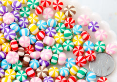 Candy Cabochons - 8mm Tiny Chunky Peppermint Swirl Candy Drop Clay or Resin Cabochons - 28 pcs set