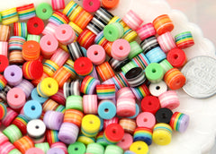 8mm Tiny Striped Roller Resin Beads, cylinder shape, mixed color, small size beads - 100 pc set