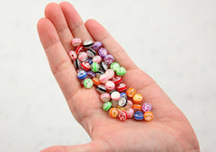 Glitter Beads - 8mm Glitter Globe Confetti Resin Beads - 100 pc set