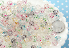 Glitter Beads - 8mm Small Transparent Glitter Acrylic or Plastic Beads - 150 pc set