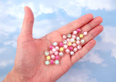 Pastel Beads - 8mm Tiny Pastel Double Inner Bead Resin or Acrylic Beads - 200 pc set
