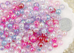 8mm Small Iridescent Pastel AB Mix Translucent Acrylic or Resin Beads - 150 pc set
