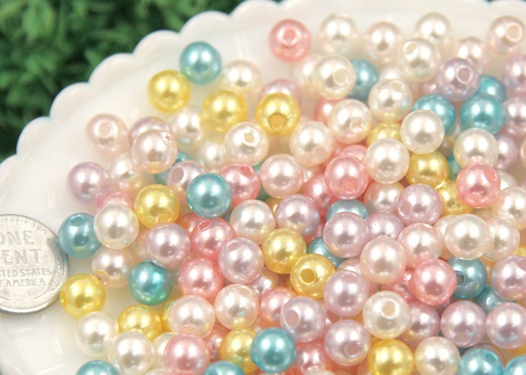 8mm Small Round Pastel Acrylic Pearl Plastic Beads - 200 pc set