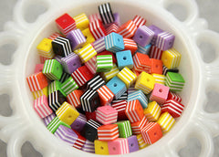 8mm Small Striped Cube Resin Beads - 100 pc set
