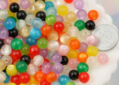 8mm Tiny Moonglow Resin Beads, Mixed Color - 100 pc set