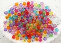 8mm Transparent Colorful Chunky Gumball Bubblegum Plastic Resin or Acrylic Beads - 150 pcs set