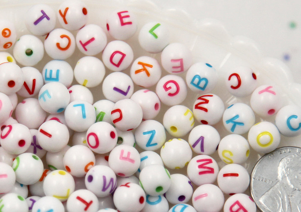 8mm Little Colorful Round Alphabet Gumball Bubblegum Acrylic or Resin Beads - 300 pc set