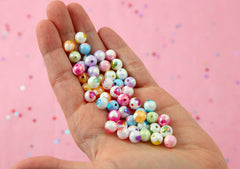 Pastel Heart Beads - 8mm Amazing Tiny AB Pastel Inlaid Heart Acrylic or Resin Beads - 50 pcs set