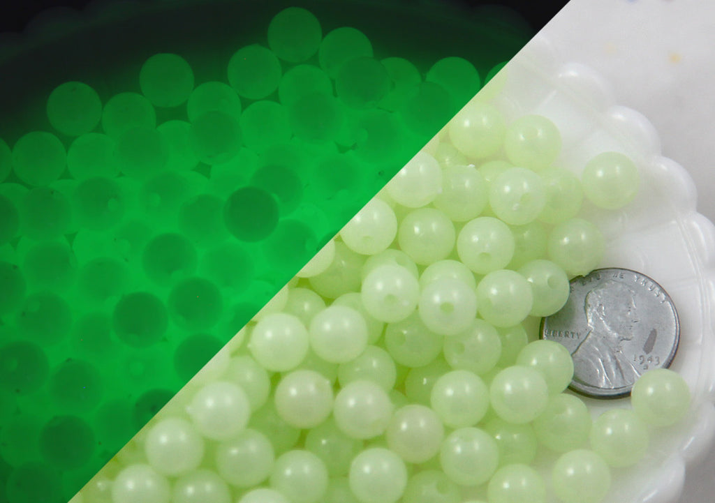 Glow in the Dark Beads - 8mm Small Round Glow-in-the-Dark Plastic or Acrylic Beads - 150 pc set