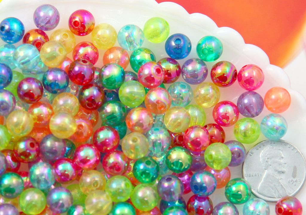 8mm Small AB Bright Mix Translucent Iridescent Acrylic or Resin Beads - 150 pc set