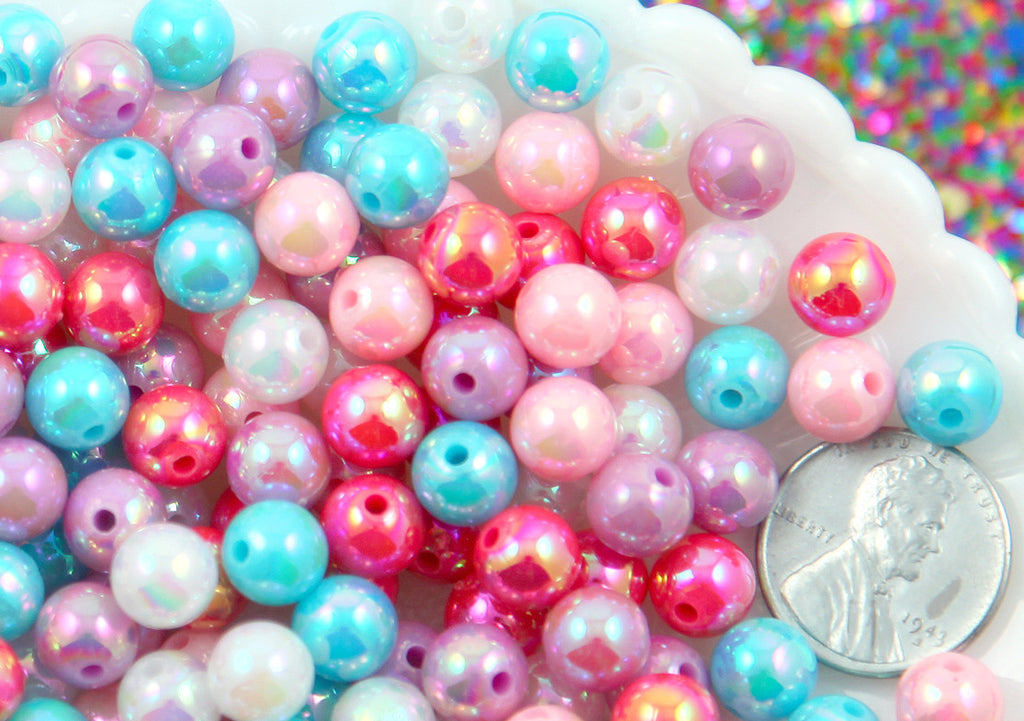 Iridescent Beads - 8mm Round Pastel AB Iridescent Acrylic Pearl Plastic Beads - 150 pc set