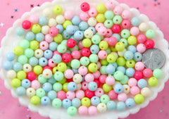 Pastel Beads - 8mm Small Beautiful Bright Pastel Small Round Shape Acrylic or Resin Beads - 200 pcs set